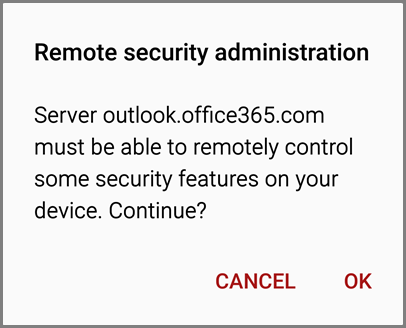 Android Remote Security prompt